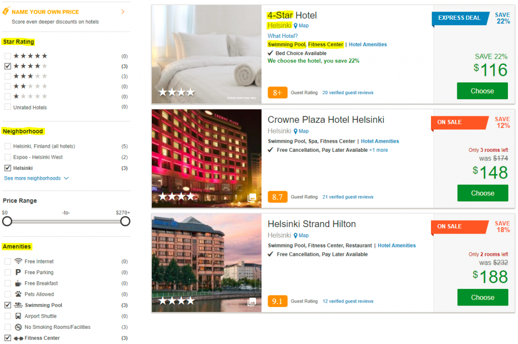 Filtering to match Priceline Express Deal