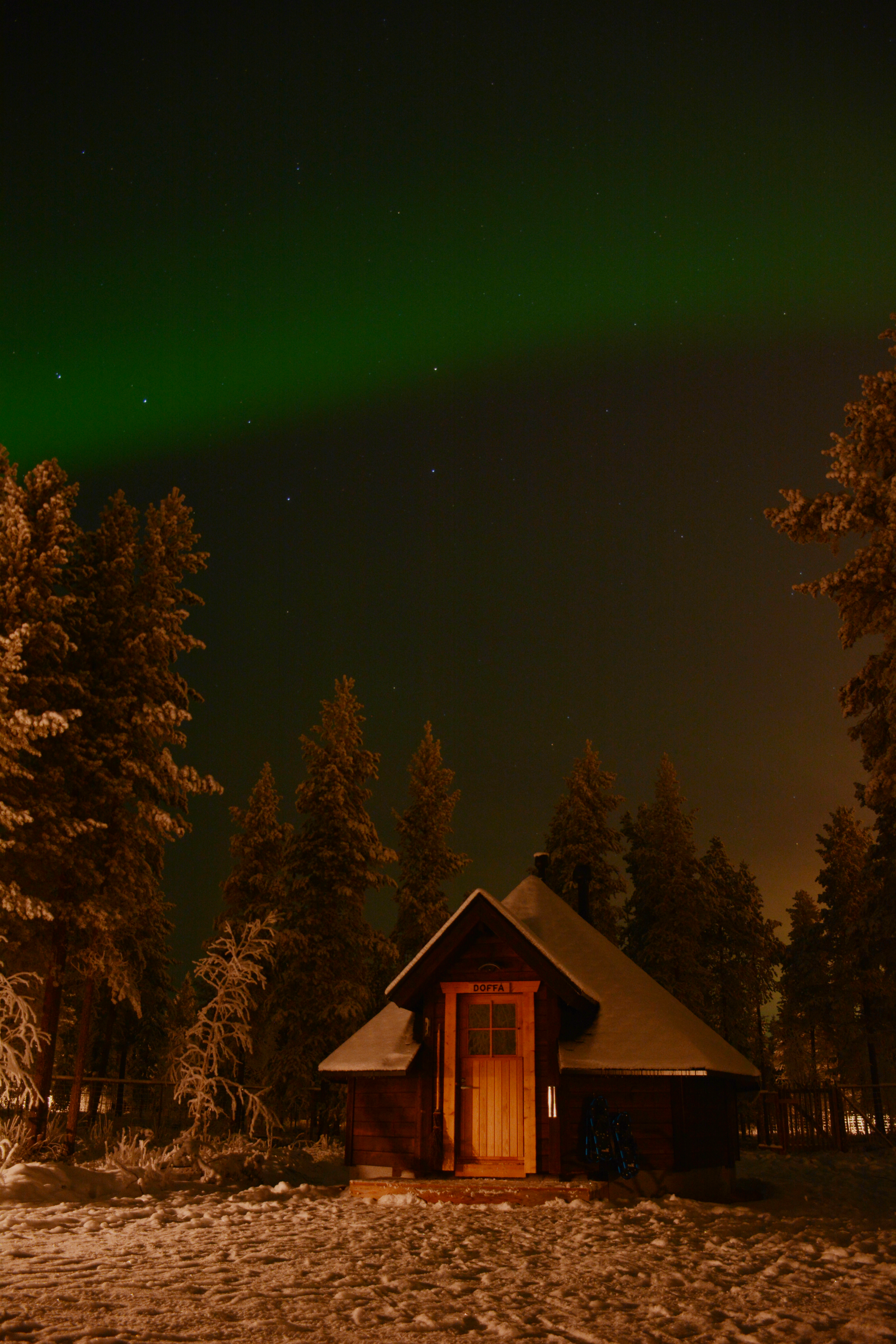Northern lights above our cabin